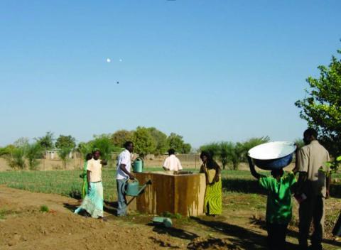 Alumnos del CPA de Bougoudang regando los puerros con agua de la perforacion